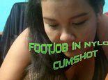 Footjob in Nylons! Cumshot!
